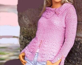 Femmes pull crochet rose /sur commande