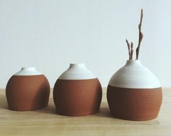 terra cotta bud vases set of three home decor white vase gift idea bud vase small vase