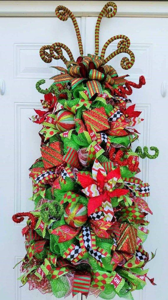 Made to order christmas tree door decor mesh by for Best place to buy wreaths
