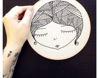 SALE*** Black line work, hand embroidery, embroidery art, hoop art, whimsical, dreamy, wall art