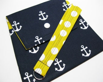 Navy White Anchors Clutch, Smartphone Wristlet, Phone Case Wallet, Smartphone Clutch Wallet, Under 25 Gift For Her
