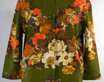 TREASURY ITEM Vintage 1960s floral wool cardigan sweater Bon Marche' green orange