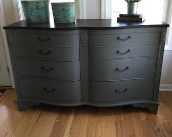 SOLD Grey Woodtop Wavy Dresser Buffet
