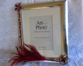 Picture Frame Embellished Magenta, Silver, Feather, Photo