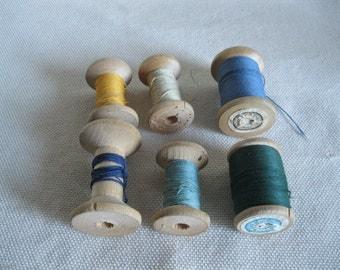 Vintage Wood thread spools  / set of 6 soviet vintag spooels / collection