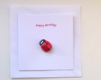 Red Lady Bird Bug Happy Birthday Greeting Card with Wood Magnet Gift Hand Painted Blank inside Children Friend woodland insect