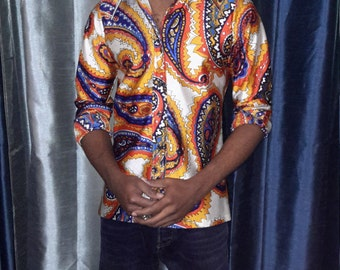 Vintage 1970 wild paisley print shirt for men! Qiana! 100% nylon and polyster