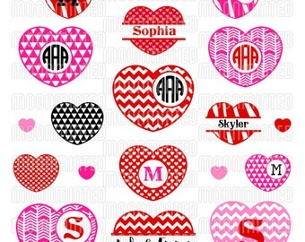 Valentine's Day Hearts #2 SVG Cut Files - Monogram Frames for Vinyl Cutters, Screen Printing, Silhouette, Die Cut Machines, & More