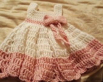 Pink & White Crochet Dress