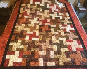 Brown Batiks Handmade Quilt