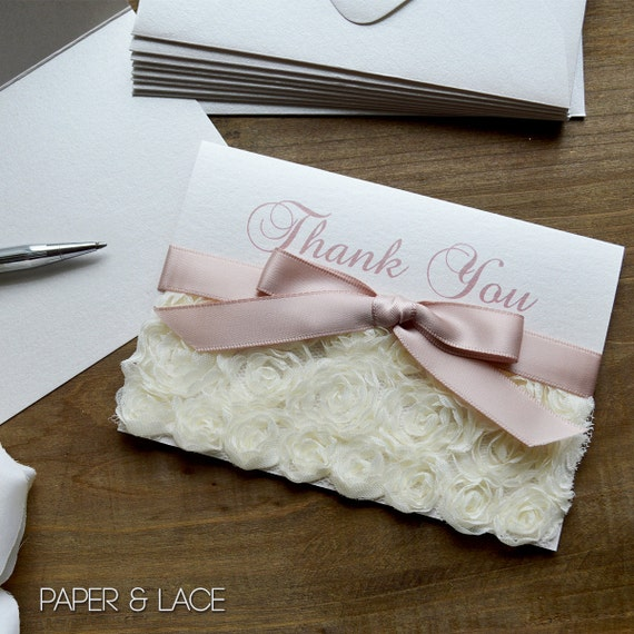 Rosette Thank You Cards - Ivory Rosette Lace - Custom Thank You Notes - Blank Inside - Wedding - Bridal Shower - Quince - Sweet 16