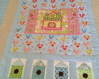 Lap Quilt//birdhouse theme//youth quilt//baby quilt//all cotton//machine wash & dry//porch quilt//flannel backing//wall hanging