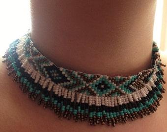 Beaded Fringe Native American Pattern Necklace