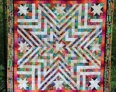"Handmade Star Quilt, Patchwork Pieced Quilt, 66""x 66"", Throw Lap Size, Colorful Batik Fabrics, Machine Quilted with Pieced Patchwork Border"