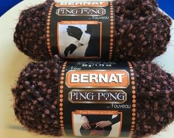 Bernat Yarn, Bernat Ping Pong, Bernat Mocha Madness, Bernat Brown Yarn, Ping Pong Yarn, Bulky Yarn, Bulky 5, 2 Skeins