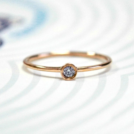 0.04 Cts Round Baby Diamond 14K Rose Gold Engagement Ring