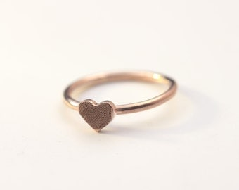 Rose Gold Fingerprint Ring, Custom Engraved Heart Ring With Your Finger Print, Mini Heart, Thin Band, Her Christmas Gift