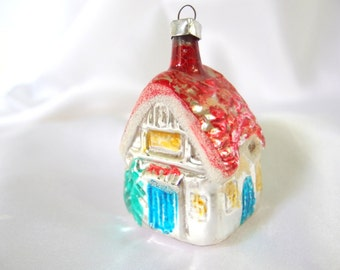 Vintage Christmas Ornament, Blow Mold Silver, Aqua and Red House Cottage Ornament