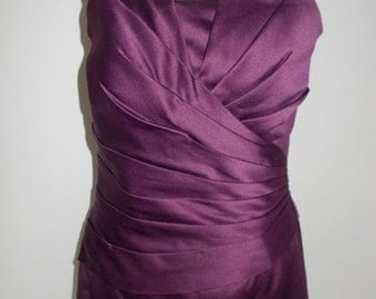 25% Off Summer Sale Vintage evening dress 90s Aubergine purple satin strapless ball gown size small