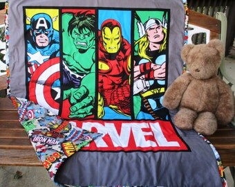 "NEW Boys MARVEL COMICS Quilt 36""x42"" Marvel Comics Coordinating Backing Napping Blanket Ironman Captain America Hulk Thor *Great Gift Idea"