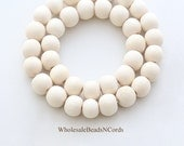 15 inch Strand 8mm Wood Beads - Round - IVORY WHITE - Natural Colors  -  Usa Seller 0548C