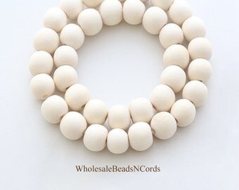 15 inch Strand 8mm Wood Beads - Round - Color Ranges from Light White to Off White - Natural Colors - Usa Seller 0548C
