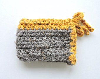 Tea / Coffee Mug Cozy - Crochet Grey with Yellow Tie