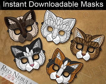 Printable Cat Masks, Kitty Paper Party Mask, Children's Coloring Mask, Instant Digital Download, Calico, Tabby, Tuxedo, Siamese, Feline Mask