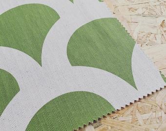 Korla fabric- Kyoto- Green- Contemporary Fabric- Olive Green- Curtain Fabric- Green Linen- Geometric Fabric- Printed Linen- Eastern