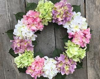 Hydrangea Wreath, Spring Wreath, Summer Wreath, Floral Wreath, Front Door Wreath, Garden Wreath