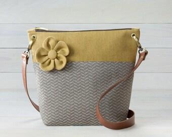 Retro Yellow and Beige Purse, Mid Century Modern Inspired, Shoulder Bag, Plumeria Flower
