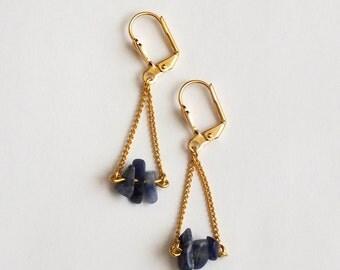 Earrings, sodalite gemstones