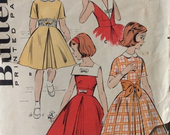 Butterick 8956 girls dress with midriff interest size 8 vintage 1950's sewing pattern