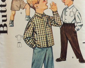 Butterick 2122 boys shirt and pants or shorts size 4 vintage 1960's sewing pattern