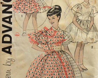 Advance 9197 vintage 1950's girls one-piece dress with full skirt sewing pattern size 8