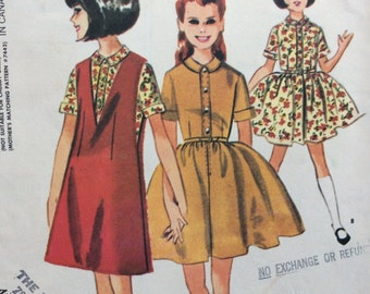 McCall's 7463 vintage 1960's girls dress w/full skirt and A-line jumper sewing pattern size 6