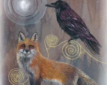 The Magic Light ...Fox and Raven Giclee Print