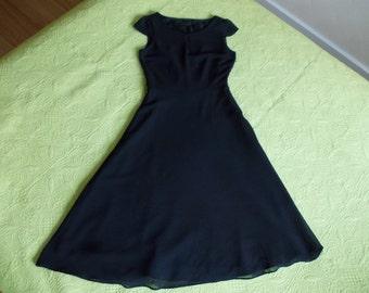 Midi Black Dress A line 4 / 6 / 32 / 34