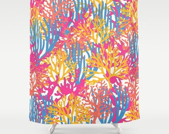 Shower Curtain Coral Print Bathroom Shower Curtain Beach Shower Curtain Bright Bathroom Decor Girly Shower Curtain Teen Bathroom Coral Print