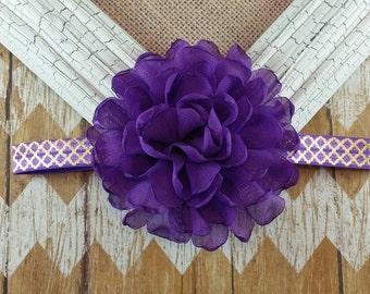 Purple and Gold headband, purple and gold flower headband, 16 inch headband, gold and purple headband, singed flower headband,girls headband