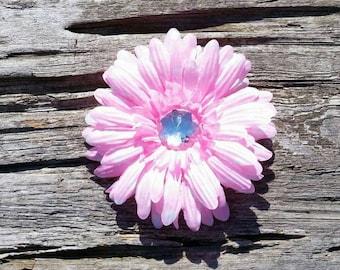 Pink flower haoir clip, daisy hair clip, girls flower hair clip, flower haor clip, hair accessory, hair flower