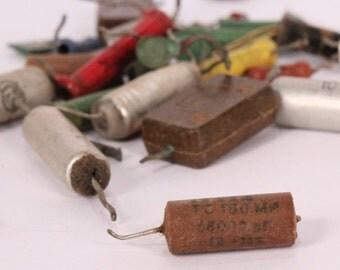 25 Vintage Capacitors, Resistors and Diodes, Scrap Electronics, Art Supplies Steampunk,