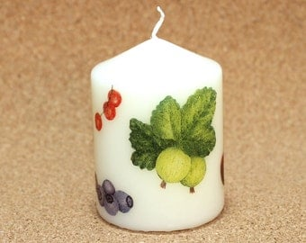 Candle berries cream 6cm tall cherry currant raspberry Blueberry gooseberry summer decoupage