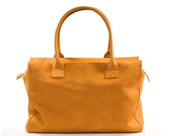 ON SALE 20% Yellow leather bag, Women leather bag, Tote bag leather, Leather bag, Leather tote bag zipper, Leather shoulder bag - EMML