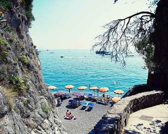 Positano Photography, Positano Beach Print, Beach Photography, Beach Wall Decor, Italian Beach, Beach Umbrella Print, Aerial Beach Photo