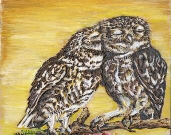 Owl Love (Original on Wood)