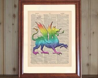 Dragon Dictionary Print, 3D Dragon Drawing, Dragon Print, Dragon Wall Art, Dragon Lover Gift, Colorful Dragon Decor Print on Canvas Panel