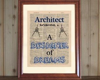 Architect Dictionary Print, Architect Office Decor, Architect Quote, Architect Gift, Grad Gift, Architect Wall Art, Architect Print