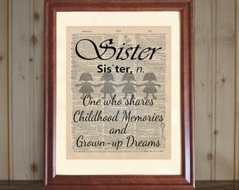 Sister Dictionary Print, Sister Quote, Sister Dreams & Memories, Younger or Older Sister Gift, Sister Print on 5x7 or 8x10 Canvas Panel