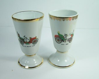 """2 porcelain mazagrans white french porcelain coffee mug with old car """"Opel 1898"""" and """"Rolls Royce 1903"""" vintage  Made in France"""